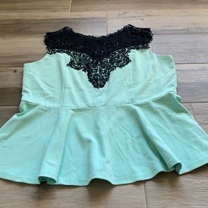 City Chic XL (22W) lace trim peplum top